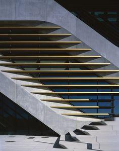 Zaha Hadid design with sharply raking back external treads. Via TheRayOGraph.