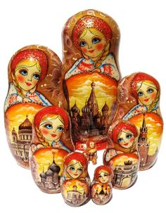 Beautiful Moscow Nesting Dolls 10 Piece Babushka