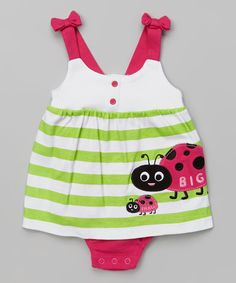 Look at this Green Stripe Ladybug Skirted Bodysuit - Infant on #zulily today!