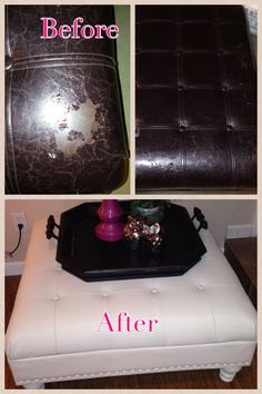 Before and after outdated peeling leather ottoman. Sanded and painted with chalk paint then wax paste.