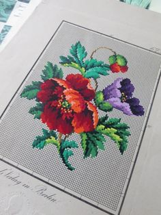 Antique Hand Painted Berlin Woolwork Embroidery Chart- Grunthals Verlag- Poppies | eBay