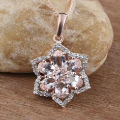 Marropino Morganite, Cambodian Zircon RG Over Sterling Silver Flower Pendant With Chain in) TGW cts. Sterling Silver Flowers, Sterling Silver Pendants, Morganite Jewelry, Flower Pendant, Belly Button Rings, Rose Gold, Pendant Necklace, Chain, Luxury