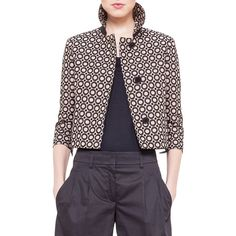 Akris punto Punto Embroidered Boxy Jacket (€705) ❤ liked on Polyvore featuring outerwear, jackets, corde noir, cropped jacket, akris punto, cotton jacket, embroidered jacket and boxy jacket