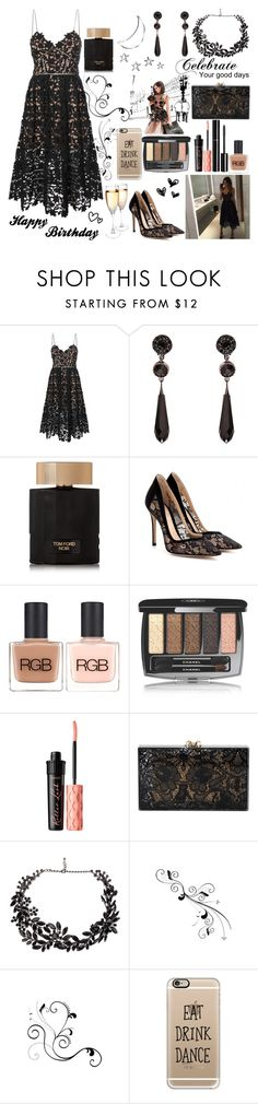 """Happy Birthday To Me!"" by kitten-katerin ❤ liked on Polyvore featuring self-portrait, Givenchy, Tom Ford, Gianvito Rossi, RGB, Chanel, Benefit, Charlotte Olympia, Tom Binns and Valentino"