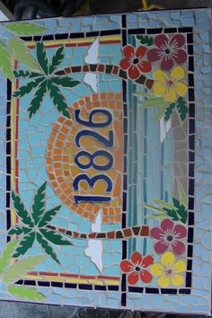 Items similar to Mosaic house numbers, palm trees, hibiscus flowers 18 x Texas Mosaic Artist Janet Dineen. Watch it being made here on etsy on Etsy Mosaic Diy, Mosaic Crafts, Mosaic Projects, Mosaic Glass, Mosaic Tiles, Glass Art, Stained Glass Panels, Stained Glass Patterns, Mosaic Patterns