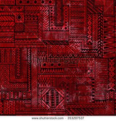Seamless patchwork pattern. Black geometric lines on red watercolor background. Vector illustration. Handmade.