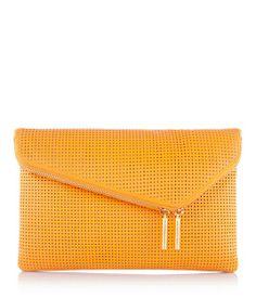 Debutante Asymmetric Perforated Clutch | Handbags | Henri Bendel