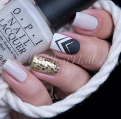 Black and White Nails with gold sparkles