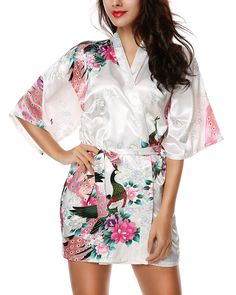 Avidlove Womens Kimono Robes Peacock and Blossoms Silk Nightwear Short  Style White XXL US 16 - a653ed369