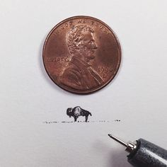 With incredible precision, California-based artist Sam Larson produces tiny illustrations that are no larger than a penny. To prove it, he places a penny Sam Larson, Illustrations, Illustration Art, Bison Tattoo, Buffalo Tattoo, Original Tattoos, West Art, Instagram Blog, Copic Markers