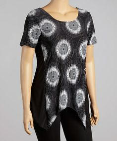 Another great find on #zulily! Black & White Circle Sidetail Top - Plus #zulilyfinds