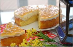 Tarta de queso Suiza, tan rica como parece. Bizcocho con Queso y Gelatina de Albaricoque.