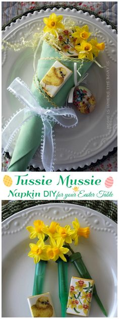 Napkins-Turned-Tussie-Mussie, an easy and festive DIY napkin fold! Fill with candy eggs, flatware or flowers for your Easter table or any occasion! #Easter #table