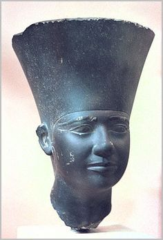 A schist head of a statue of Userkaf found at his sun temple at Abu Ghurab. Userkaf was the last king of the 5th dynasty. His pyramid, now ruined, is located a few hundred meters from the northeast corner of Djoser's 3rd dynasty step pyramid at Saqqara.