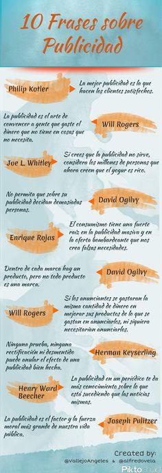 #Infografía en español que muestra 10 frases célebres sobre Publicidad