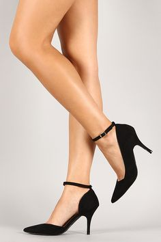 Qupid Suede Ankle Strap Pointy Toe Dorsay Pump