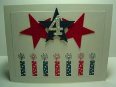 handmade Fourth of July card: July 4th Case by crazysuziestamper ... like the design ... row of firecrachers stamped in red and blue with rhinestones in the sparkle ... three big die cut stars .. 4 cut from glitter paper ... luv the sparkle!!