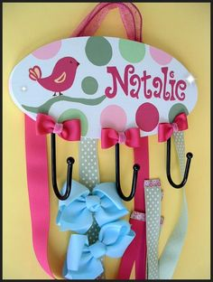 Hair Bow Holder PLUS hooks for HEADBANDS - Organization for Hair Bows, Clips and Head bands - PERSONALIZED. $69.95, via Etsy.
