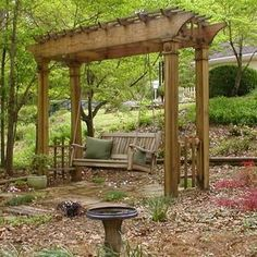 arbor with swing | Garden | Pinterest