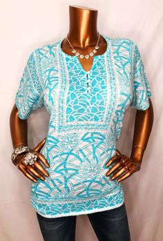 Chico's 1 or S/M Top Stretchable Blouse Short Sl Blue White Y 1/2 Button Down  | eBay