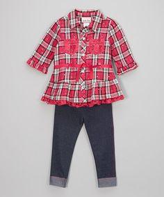 Look what I found on #zulily! Pink Plaid Button-Up & Denim Leggings - Infant, Toddler & Girls #zulilyfinds