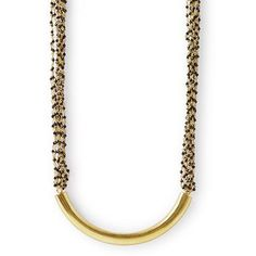 A statement necklace made of a goldplated brass hollow tube with beaded spinel chains. Natural, hand cut gemstone with gold plated brass. Size: tube x with chains length) with adjustable links Black Gold Chain, Gold Chains, Statement Earrings, Gold Necklace, Drop Earrings, Betty Design, Black Betty, Geometric Shapes, Tube