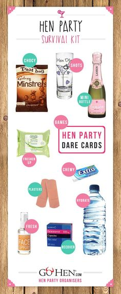 Everything you need to include in your hen party survival kits. Create your own gift bag for each hen as you embark on a fantastic weekend together Hen Do Party Bags, Hen Party Favours, Hen Party Gifts, Party Gift Bags, Hen Party Bag Fillers, Hen Party Dress, Hen Party Survival Kit, Survival Supplies, Bridal Survival Kits