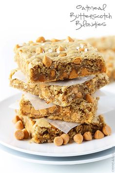 These dense bars are loaded with chewy oats and creamy butterscotch chips! A couple of secret ingredients transform these into the BEST blondies you've ever tasted!