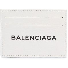 Balenciaga Women Leather Card Holder ($260) ❤ liked on Polyvore featuring bags, wallets, opticwhite, genuine leather bag, genuine leather wallet, real leather bags, balenciaga wallet and leather wallets