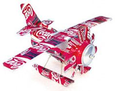 DIY Soda Can Seaplane Craft Pattern. We don't drink soda, but could still get some to make this for my son, I'm sure he would love it. Pop Can Crafts, Fun Crafts, Crafts For Kids, Arts And Crafts, Aluminum Can Crafts, Aluminum Cans, Pop Can Art, Recycle Cans, Pop Cans