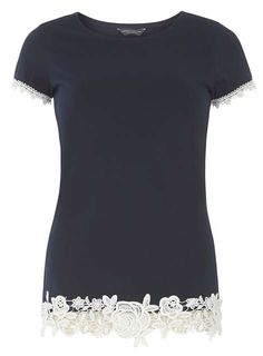 Tall Navy Rose Lace Hem T-Shirt Price: $25.00