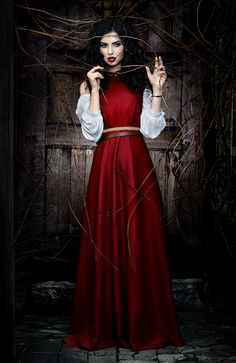 """by Tomasz """"skinny500"""" Pluszczyk Snow white in a vision of red, fear encompassing her in the shadows of her imprisonment"""