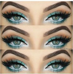Peacock inspired eye make up. Green and white eye makeup. Glamorous wedding make up. Boho Bride make up. Wild bride make up Gorgeous Makeup, Pretty Makeup, Love Makeup, Makeup Inspo, Makeup Art, Makeup Inspiration, Beauty Makeup, Amazing Makeup, Beauty Tips