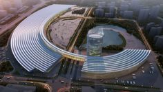 The Nanchang Exhibition Center's distinctive shape is informed by growth patterns found in nature such as plants and shells. The initial phase is a single structure that will accommodate 130,000 square meters of exhibition space on two levels. A 650-meter-long