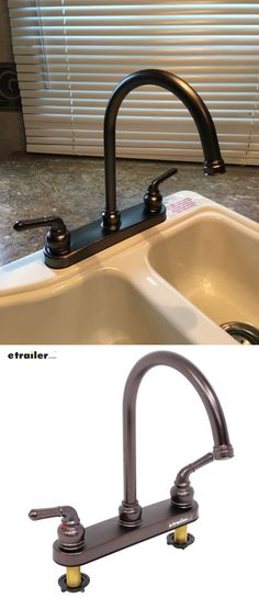 Upgrade your RV or Camper faucet to this sharp looking, heavy-duty brass construction. Substantial, house type quality. 8 inch size will fit right back where original was and supply piping attaches directly under each valve