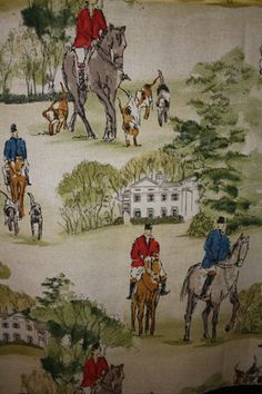 Wide horse and hound fabric. Preppy fabric so often seen up north Equestrian Bedroom, Equestrian Decor, Equestrian Style, Chinoiserie, Horse Fabric, English Country Decor, Living Room Redo, Fox Hunting, The Fox And The Hound