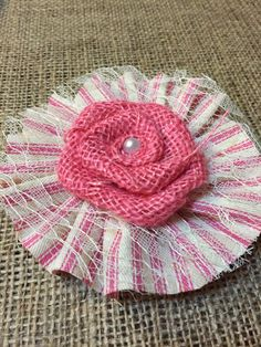 "Pink Burlap Flower Pink Stripe Ticking Ruffle 4"" Wedding Venue Rustic Baby Shower Girl Table Cottage Wreath Chic Decor *Purchase Per rPiece* by BoerneBurlapDesigns on Etsy https://www.etsy.com/listing/271964412/pink-burlap-flower-pink-stripe-ticking"