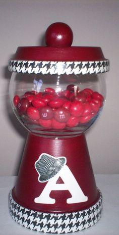 Items similar to Alabama Crimson Tide Candy Dish on Etsy Clay Flower Pots, Flower Pot Crafts, Clay Pots, Alabama Decor, Sweet Home Alabama, Alabama Crafts, Alabama Baby, Crimson Tide Football, Alabama Crimson Tide