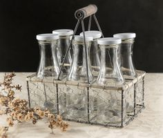 6 Glass Bottles in a Chicken Wire Basket with Handle $18.49