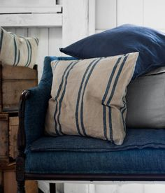 Denim looks fabulous on formal pieces! Love the ticked pillows!...Also color of Fabric for Windback chairs