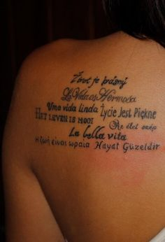 """This girl spent a semester travelling and got a tattoo in each country she visited... each tattoo has the same meaning: """"life is beautiful"""" in all the different languages."""