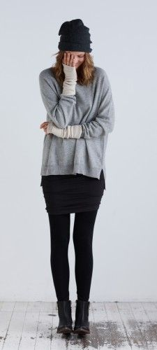 Sweater/longsleeve + ruched skirt