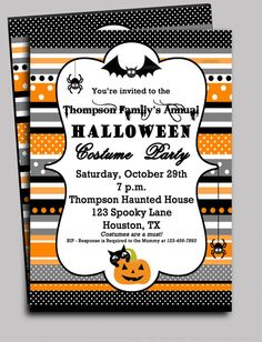 Halloween Invitation Printable  Ribbon Chic by ThatPartyChick, $15.00
