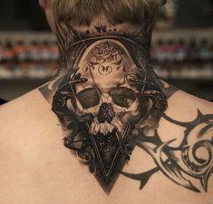 Best Back of Neck Tattoos For Men - Best Neck Tattoos For Men: Cool Neck Tattoo Designs and Ideas - Badass Full, Front, Side, Back of Neck Tattoos For Guys neck tattoos 125 Best Neck Tattoos For Men: Cool Ideas + Designs Guide) Tattoo Nape, Hand Tattoos, Best Neck Tattoos, Tattoo Son, Skull Tattoos, Sexy Tattoos, Body Art Tattoos, Sleeve Tattoos, Tattoo Ideas