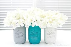 I grabbed some plain glass jars at Michaels the other day, pulled out some of my chalky paint, and got to work making my version of Chalky Painted Mason Jars. Mason Jar Vases, Mason Jar Crafts, Mason Jar Diy, Glass Jars, Chalk Paint Mason Jars, Painted Mason Jars, Diy Gifts, Handmade Gifts, Diy Craft Projects