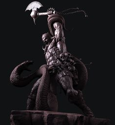 Barbarian fighting with a Cobra, amruth raju on ArtStation at https://www.artstation.com/artwork/504dJ