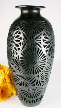 Oaxaca Black Pottery Extra Large Tall Vase Openwork from Studios of Dona Rosa