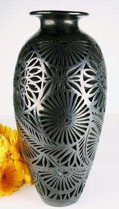 Oaxaca Black Pottery Extra Large Tall Vase Openwork from Studios of Dona Rosa