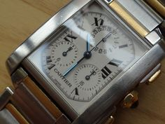2 Tone 18k Gold Steel Cartier Tank Francaise Chronograph Watch