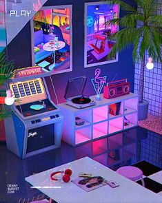 Denny Busyet Dreamlike artwork inspired by / aesthetic nostalgia fueled by synthwave retrowave and vaporwave style. Denny Busyet Dreamlike artwork inspired by / aesthetic nostalgia fueled by synthwave retrowave and vaporwave style. Cyberpunk Aesthetic, Neon Aesthetic, Aesthetic Room Decor, Retro Room, Retro Art, Neon Bedroom, Neon Led, Vaporwave Art, Retro Waves